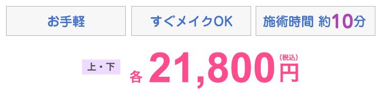 お手軽・すぐメイクOK・施術時間10分 上下各21,800円(税込)