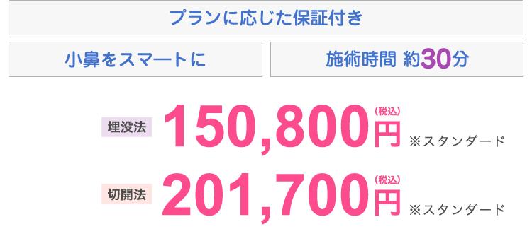 埋没法 148,000円、切開法 198,000円